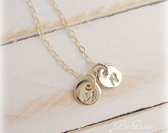 Initial Necklace, 14k Gold filled, Personalized, Custom Hand Stamped, 2 tiny disc, Monogram, Mothers Sisters Grandma Best Friends Necklace