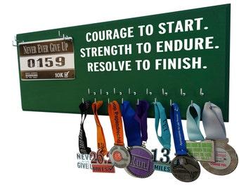 Marathon medal display, Inspirational running quote, Courage to start. Strength to endure. resolve to finish. Race bib hanger, Runners gifts