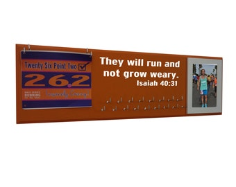 Inspirational quotes - medals display rack, They will run and not grow weary. Isaiah 40:31, Gifts for runners