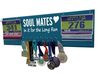 wedding gift for running couple -  medals holder -   race bibs and medals hanger - running running and running: inspirational quote