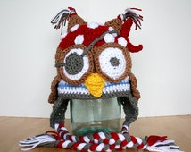 Pirate Owl Hat, pirate costume, owl costume, toddler halloween costume, crochet hats for kids, pirate owl costume, 12 month to 4t sizes