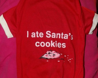 Holiday t-shirt for pets in red with imprinting - D54