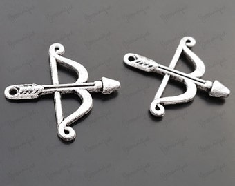 10 Bow and Arrow Silver Charms Pendant 25x25mm B1355