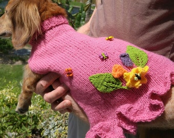 PDF Download Knit Pattern for Miniature Dachshund Garden Party Frock
