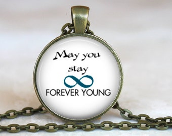 Bob Dylan's May You Stay Forever Young Music Lyrics..Parenthood Theme Song..Glass Pendant, Necklace or Key Ring