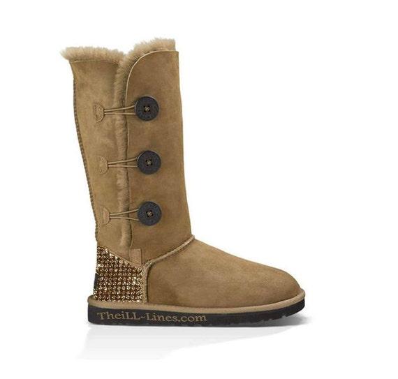 custom ugg boots made with swarovski bailey button