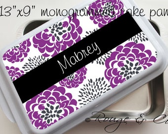 """RASPBERRY PEONY personalized cake pan 13""""x9"""" stainless steel with white lid, monogram cake pan, casserole dish, wedding gift, house warming"""