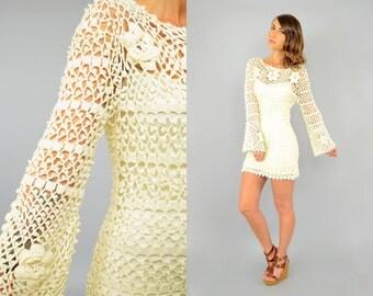 60's Cream CROCHET Mini Dress