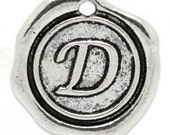 """Add On Initial """"D"""" Charm, personalized letter charm, monogram, Personalized Keychain, Personalized Necklace, antiqued silver plated charm"""