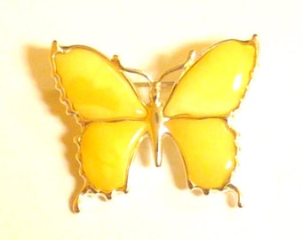 Baltic Amber Jewelry Butterfly Pin Brooch Butterscotch Natural Untreated 925 Silver