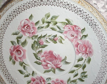 """Hand Painted Cottage White Shabby Pink Roses Green Leafs 10"""" Plate Tray"""
