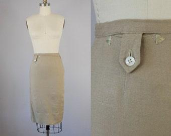 "1940s Vintage Evan-Picone Tan Linen Triangle Pocket Pencil Skirt (XXS; 23 3/4"" Waist)"