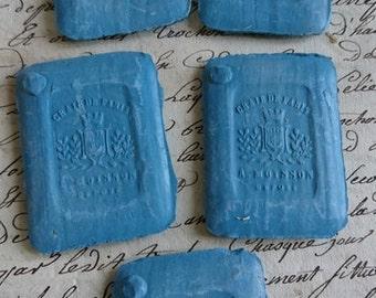 5 tablets gorgeous antique French Tailors couturiers chalks c1880 paris crown and crest BELLE BROCANTE