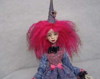 Pink clown doll Art doll OOAK doll Human figure doll Paper clay doll Collecting doll Clay doll