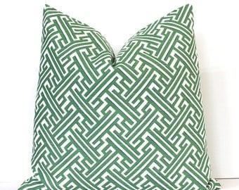 Kelly Green Trellis Geometric Designer Pillow Accent Cushion Cover hollywood regency imperial lattice white modern greek key kelly grass