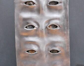 Aluminum Prosthetic Eye Display with 1940-50's Prosthetic Eyes