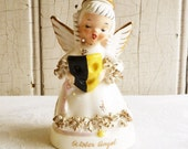 Vintage October Birthday Angel - Yellow and Black Halloween Mask - Napco Made in Japan - Mid-Century 1960s
