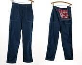 Vintage 1960's Denim High Waist Metal Zip Up Side Fleece Lined Cropped Jeans Women's 28 Inch Waist Retro