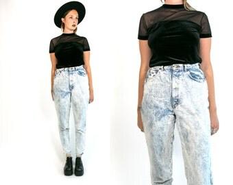 Vintage 1990's Grunge/Goth Black Stretchy Sheer Mesh Short Sleeved Top / Black Velvet Women's Medium Large
