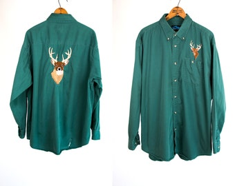 Vintage 1990's Deer / Buck Machine Embroidery Button Down Long Sleeved Shirt Men's Size XL