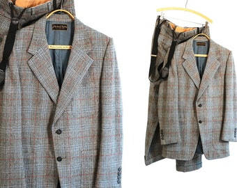 Vintage Vtg Vg 1960's 60's Houndstooth Pierre Cardin Suit Mad Men Business Two Piece Suit in Wool with Suspenders Men's Paris NYC Hip