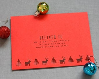 Envelope Printing - Recipient Address - Return address - Holiday Cards - Digital Calligraphy - Christmas Cards