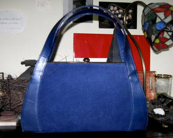 Vintage Navy Suede and Leather Handbag Crouch & Fitzgerald