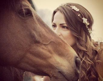 wedding accessories, bridal headpiece, wedding flower crown, ivory Flower crown, rustic head wreath, wedding headband, bridal hair