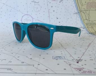 Vintage looking teal sunglasses