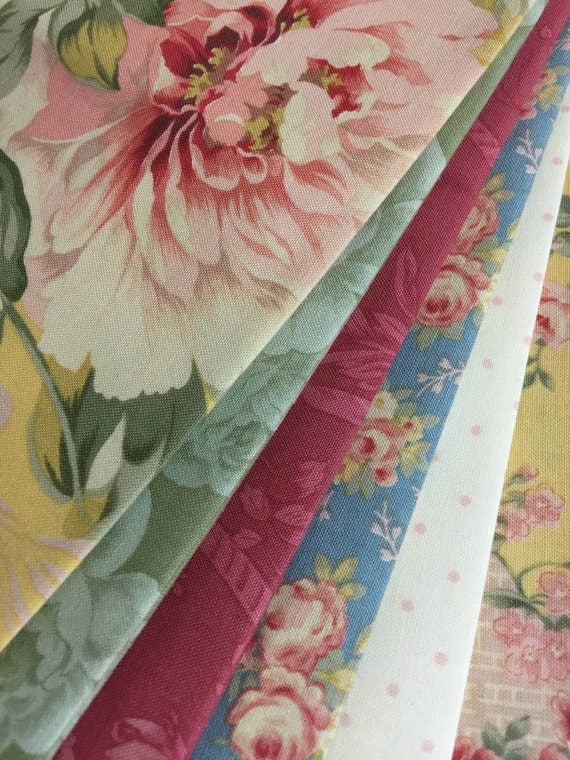 6 Shabby n Chic Quilt Fabric Fat Quarters 'Desired