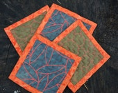 Quilted Coaster Set - Graphic Green and Gray with Orange Trim