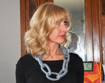 Felted Wool Chain/Link Necklace, Silver Gray