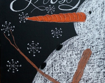 Frosty hand drawn framed chalk art