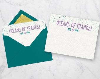 Mermaid Thank You Card, Mermaid Invitation, Mermaid Birthday Invitation, Under The Sea Invitation