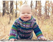 Burgundy and white stripped 6-12 month sweater