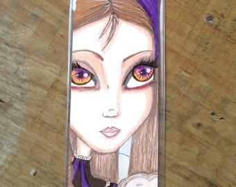 Fantasy faerie art bookmark, woodland creature, big eyes, Owl, fairy, big eyed beauty