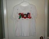 Ladies' Christmas Appliqued T-shirt Size Medium, Ladies' Christmas Hand Painted T-shirt, Christmas NOEL T-shirt, Christmas White T-shirt