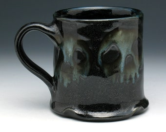 Skulls Coffee Mug, Four Gothic Skulls Tea Cup