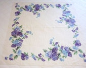 "Vintage Linen printed Tablecloth with purple Mums flowers Chrysanthemums 50"" x 50"""