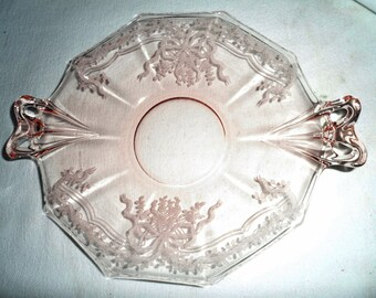 "Fostoria Pink JUNE bow handled 8.5"" Lemon Plate"