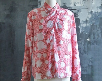 Red and White Silky Blouse; Size 14