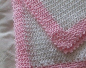 Baby Blanket Handmade in Ireland white with pink trim Crochet blanket for baby