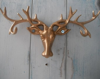 elk jewelry holder elk wall hook gold hook key holder key hook rustic decor shabby decor painted hook faux taxidermy rustic hook