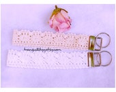 Lace Wristlet ,Bohemian White, Beige n Coral Wristlet , Bohemian  Lace Crochet Wristlet, Keyring, Keychain, Handmade By: Tranquilityy