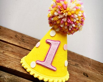 First Birthday Hat, Lemonade Birthday Hat, Yellow and Pink Hat, Felt Birthday Hat, Birthday Hat: Lemonade
