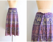 vintage 70s Indian cotton batik skirt - faded indigo India batik print / Bohemian - festival skirt / 70s hippie skirt - altered wrap skirt