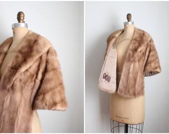 vintage 1950s pale caramel mink stole - 50s fur wrap / 1950s mink capelet - vintage mink wrap / vintage fur-stole - 50s mink wrap