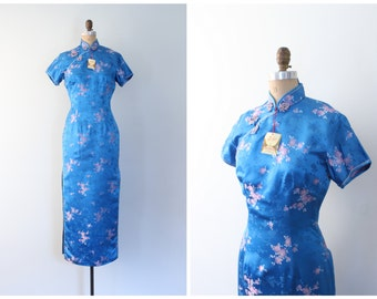 NOS Solz Squirrel floral print cheongsam - Chinese wiggle dress / Cerulean Blue & pink - rayon satin brocade dress / vintage pin up dress