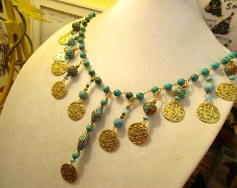 Genuine African TURQUOISE, Authentic CORAL, Turquoise & Brass TIBETAN Handmade Beads; Mykonos 24k Gold Embossed Disks, 12 Pendant Necklace