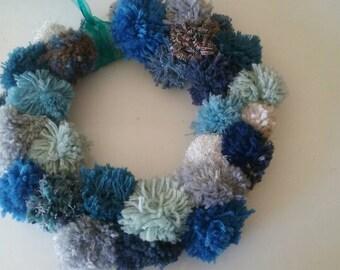 Blue pom pom wreath // unique door decoration // baby boy nursery decor // beachy wreath